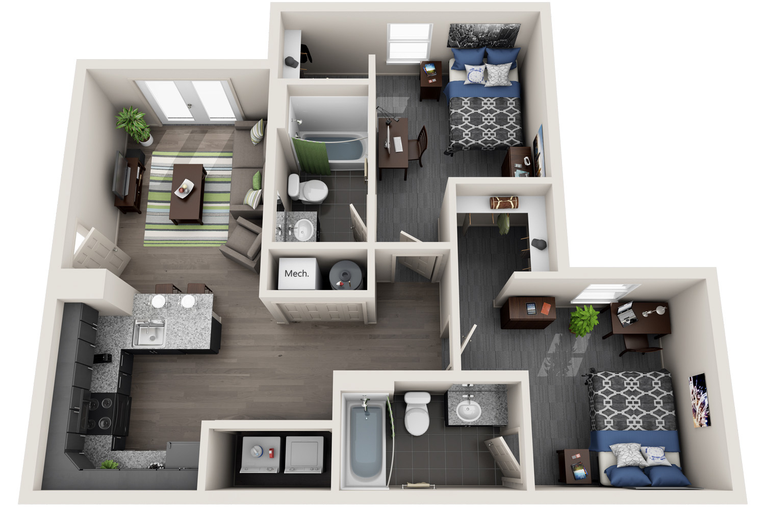 2 bedroom student housing off cus apartment 10011 | 2 bedroom 3d copy